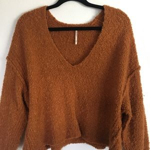 Free People Cropped Sweater in Rusty Orange